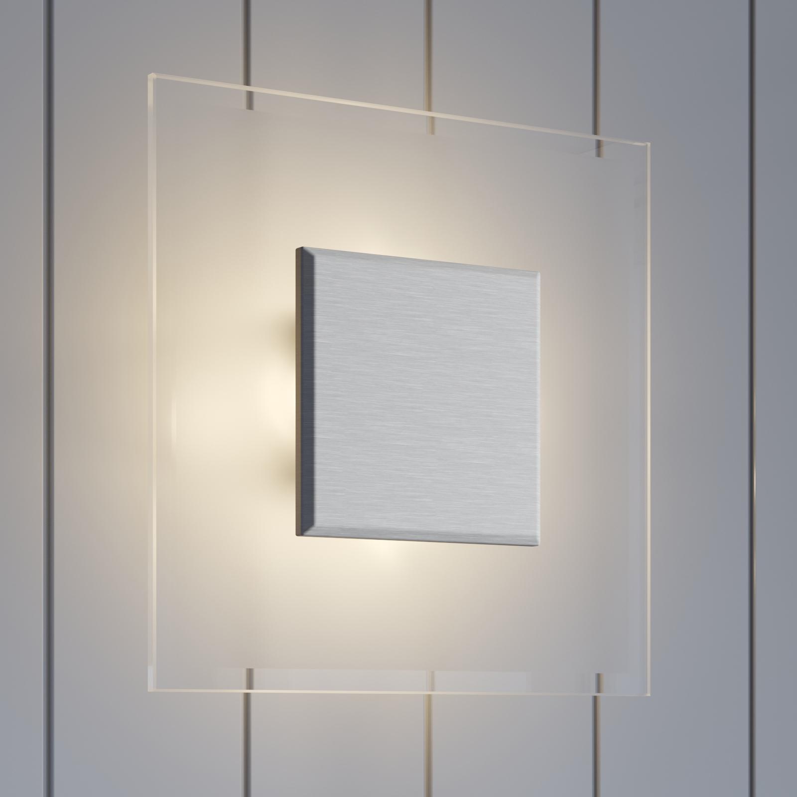 Firkantet LED-taklampe Lole i glass