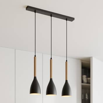 Hanglamp Muza, 3-lamps, zwart/goud