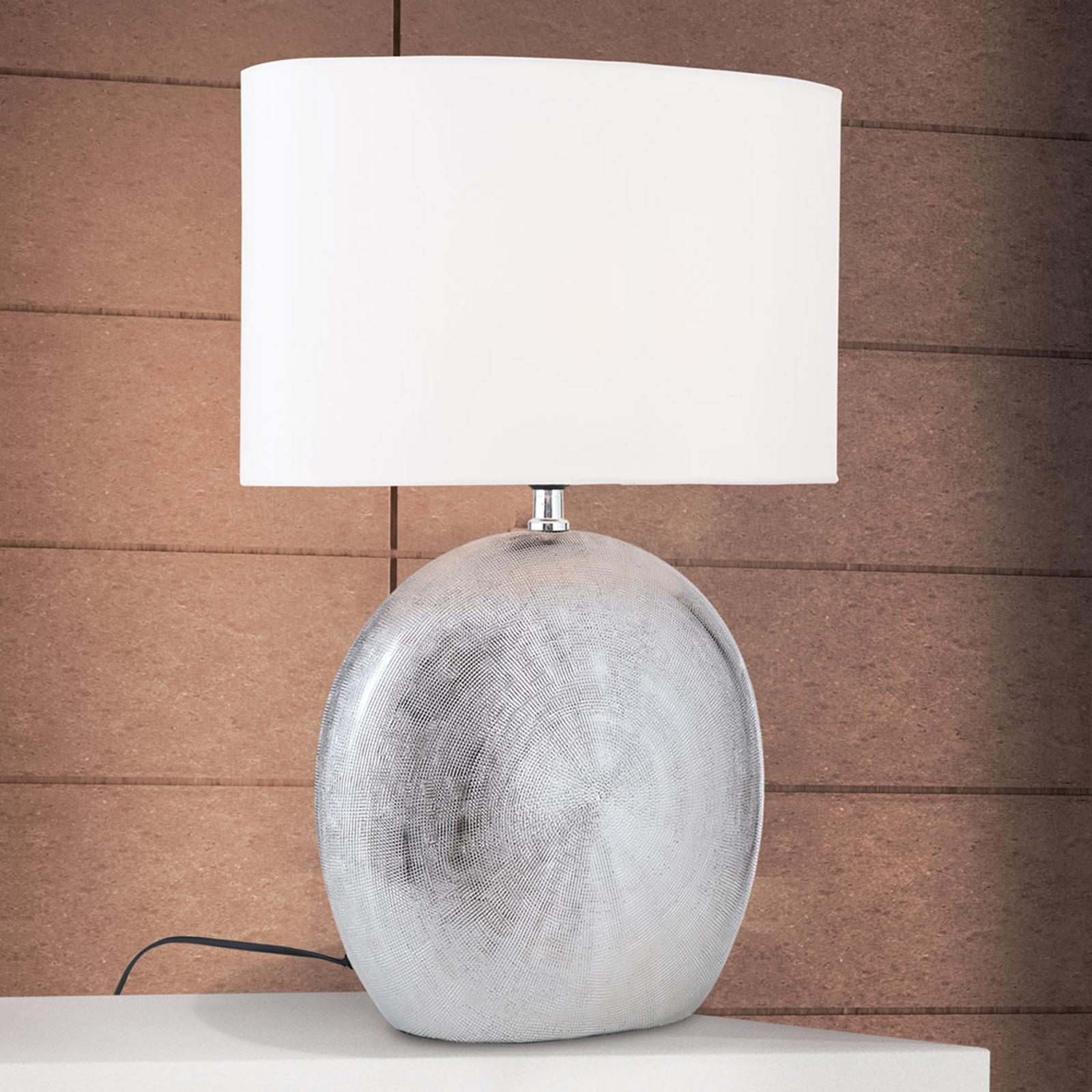Keramische tafellamp Ethno 52 cm wit, voet titaan