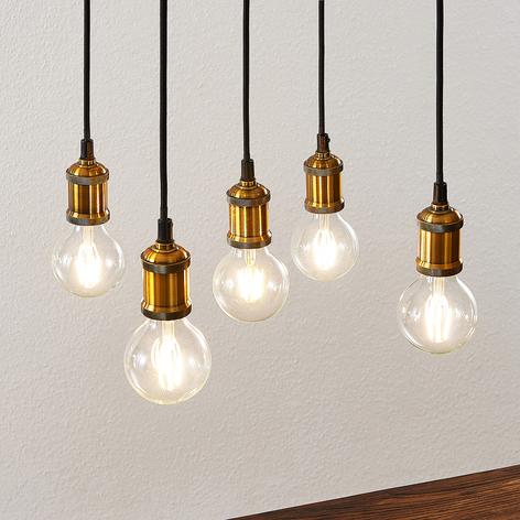 Lindby Sevin závěsné světlo, pětižárovkové, dřevo