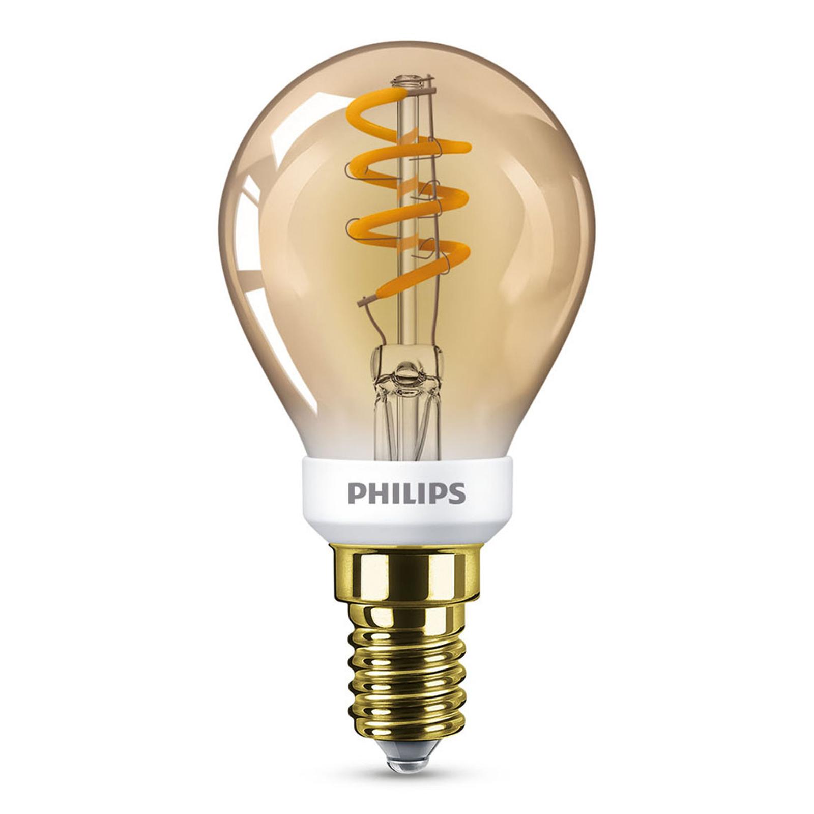 Philips LED Classic E14 P45 3,5W 1.800K gold dim