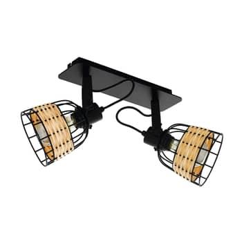 Spot pour plafond Anwick 1 acier/rotin, à 2 lampes