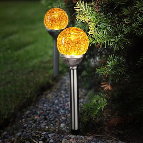 Roma LED-Solarleuchte mit Glaskugel, 2er Set