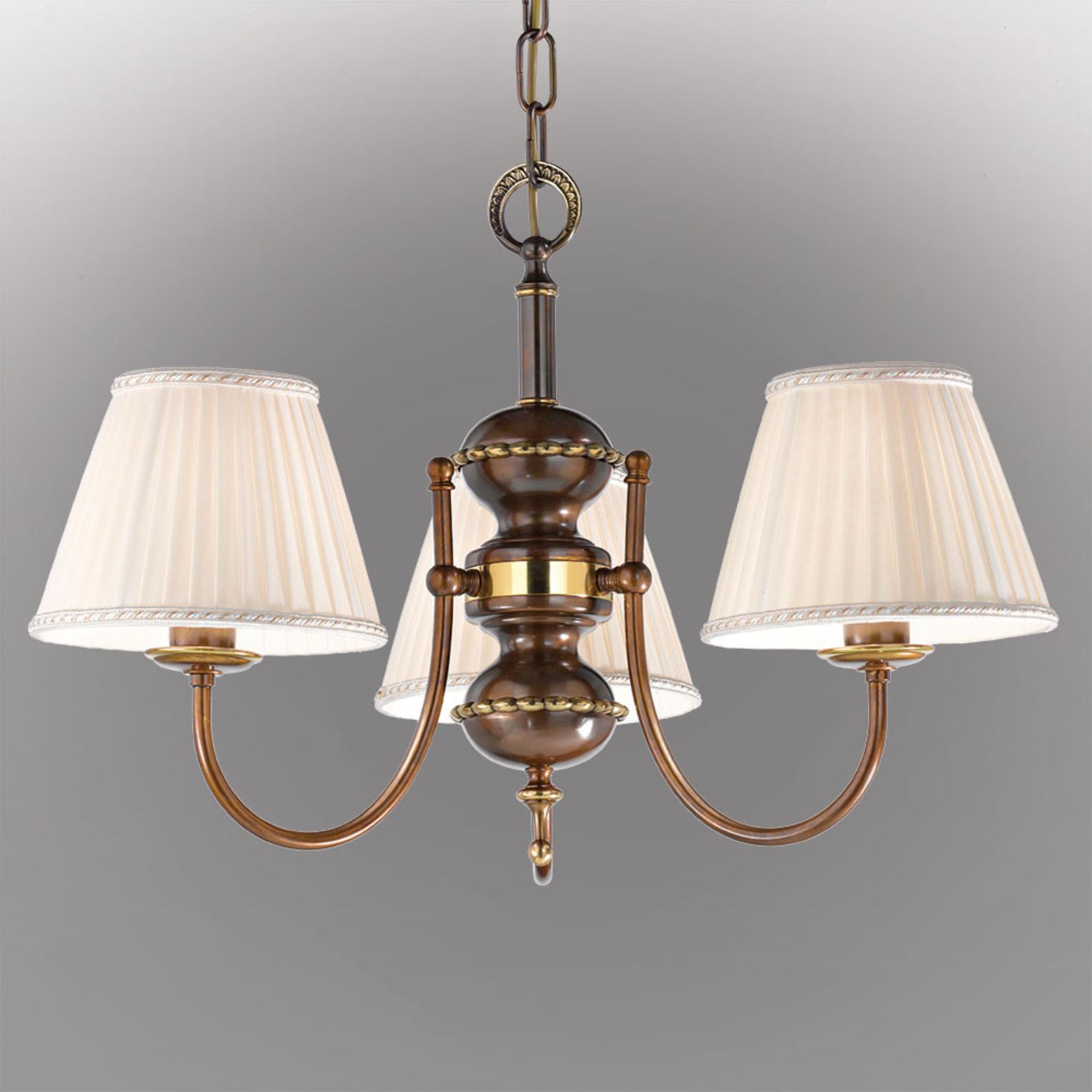 Classic hengelampe med tre lys og antikk finish