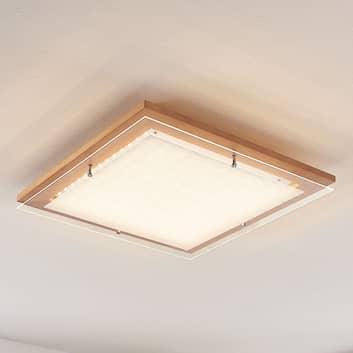 LED-taklampa Cattleya i trä, kvadratisk