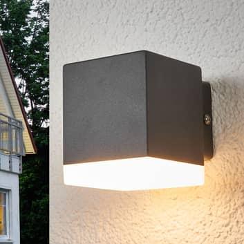 Aplique de pared exterior Hedda en gris con LED