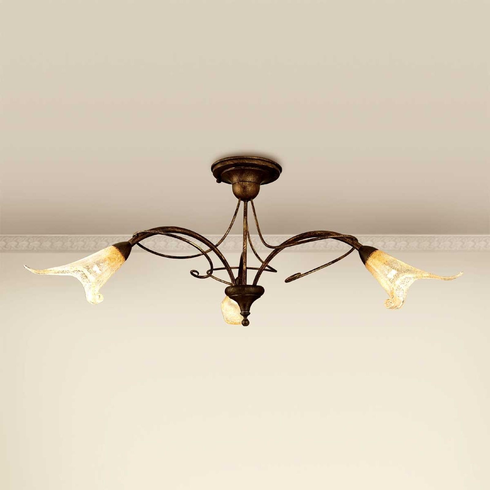 Lampa sufitowa RICCARDO kwiatowe motywy 3-punktowa