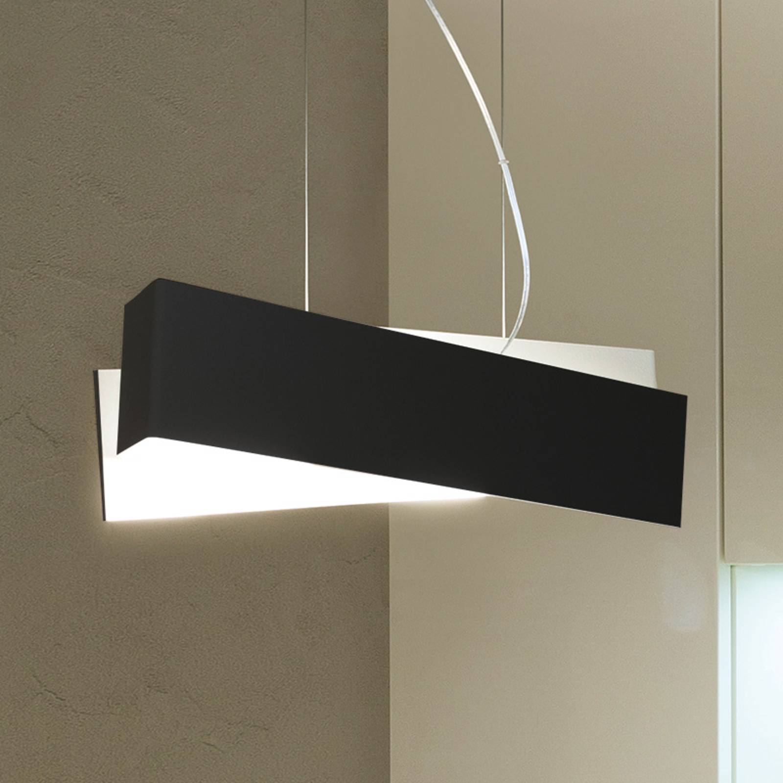 Extravagante hanglamp ZIG ZAG, zwart-wit
