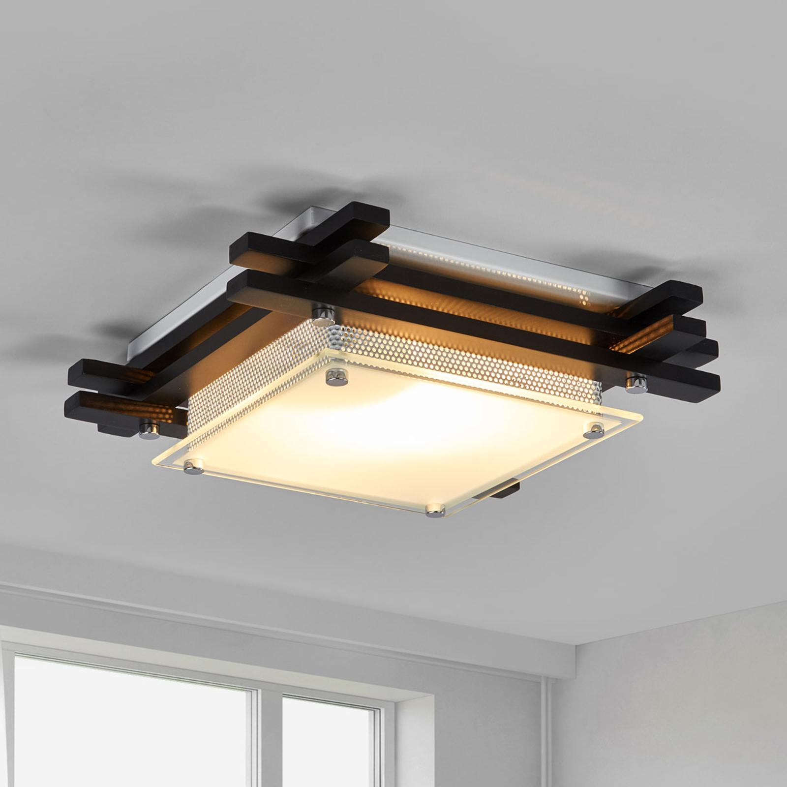 Houten plafondlamp EDISON, donker gekleurd