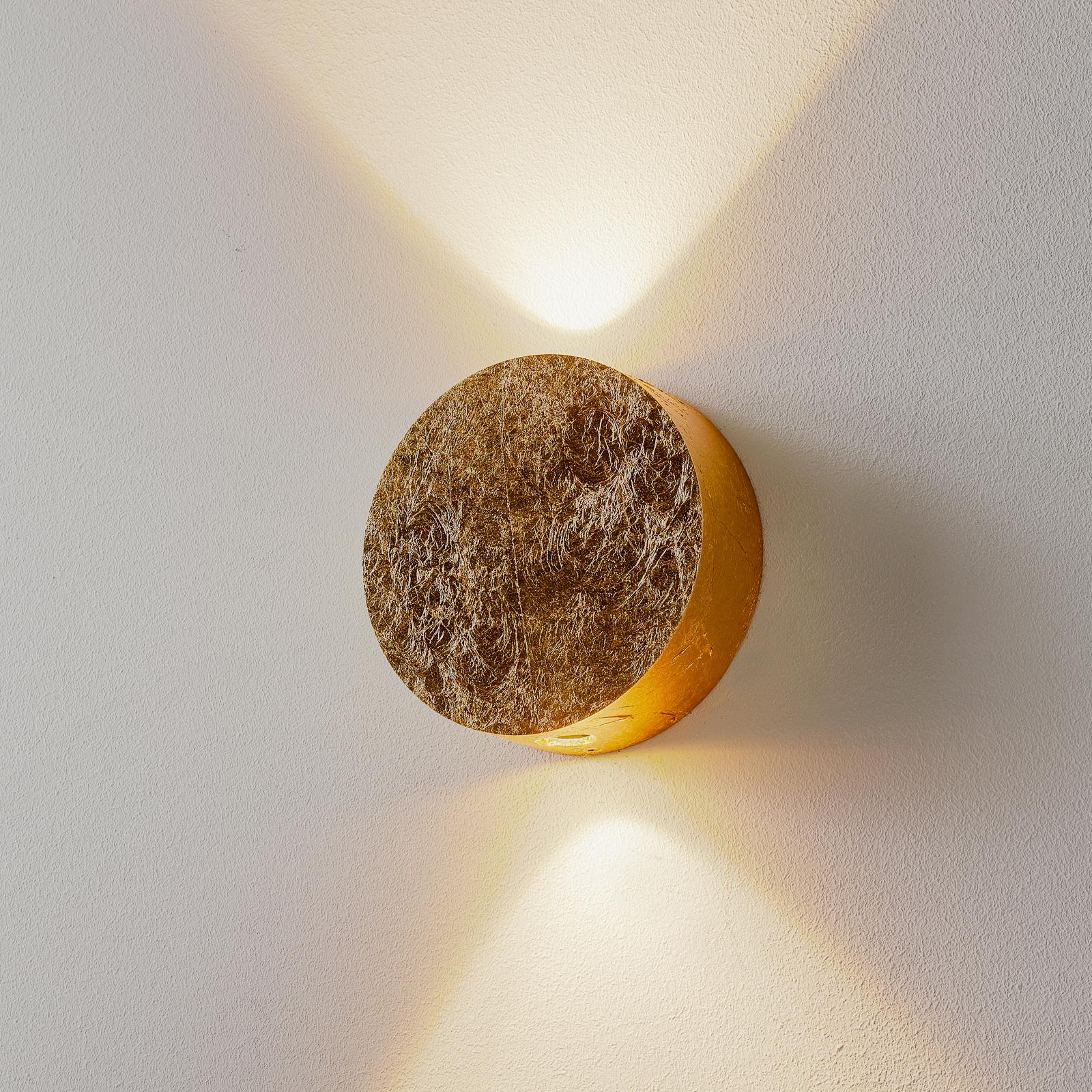 Glanzend gouden LED-wandlamp Sunny