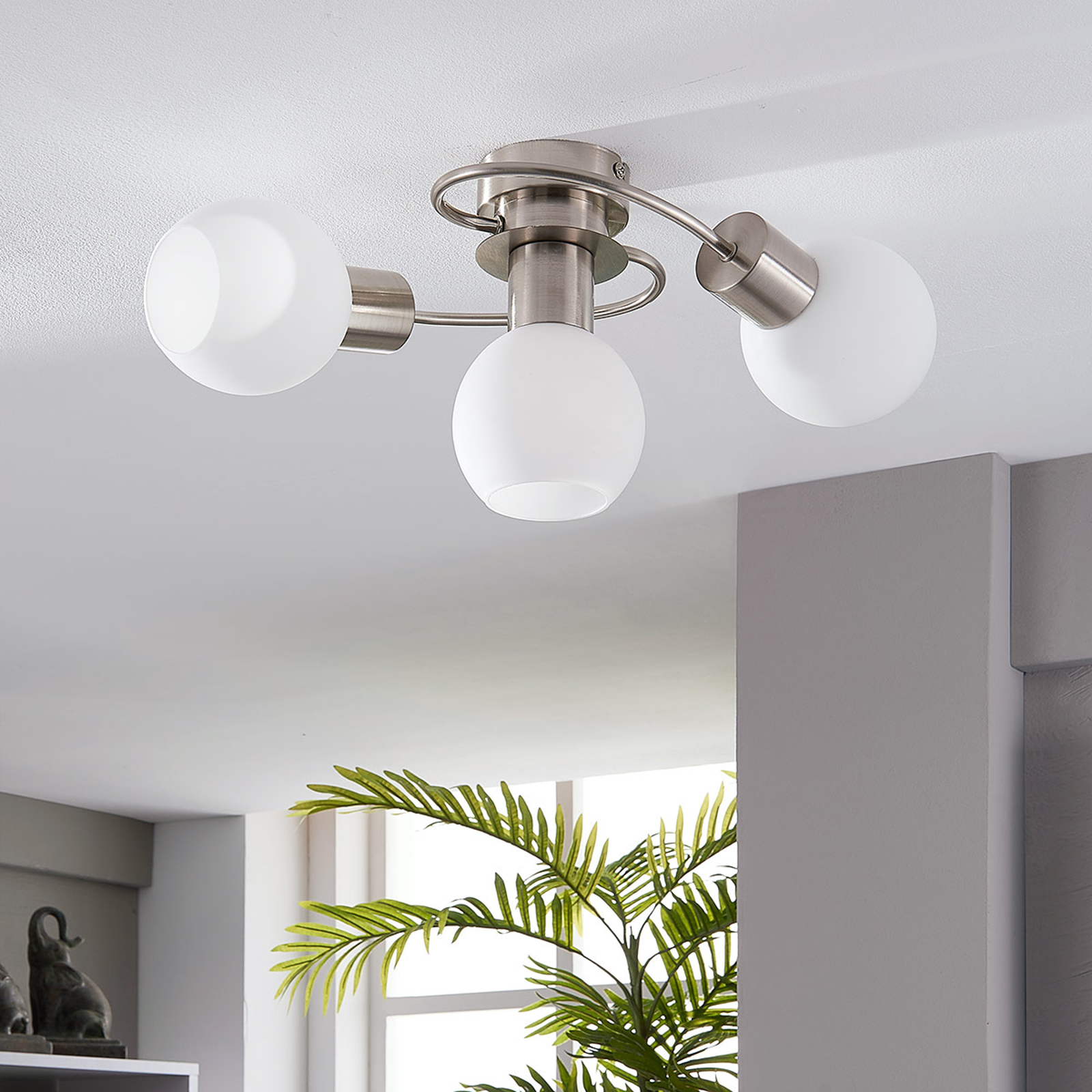LED-taklampa Ciala, 3 lampor, nickel