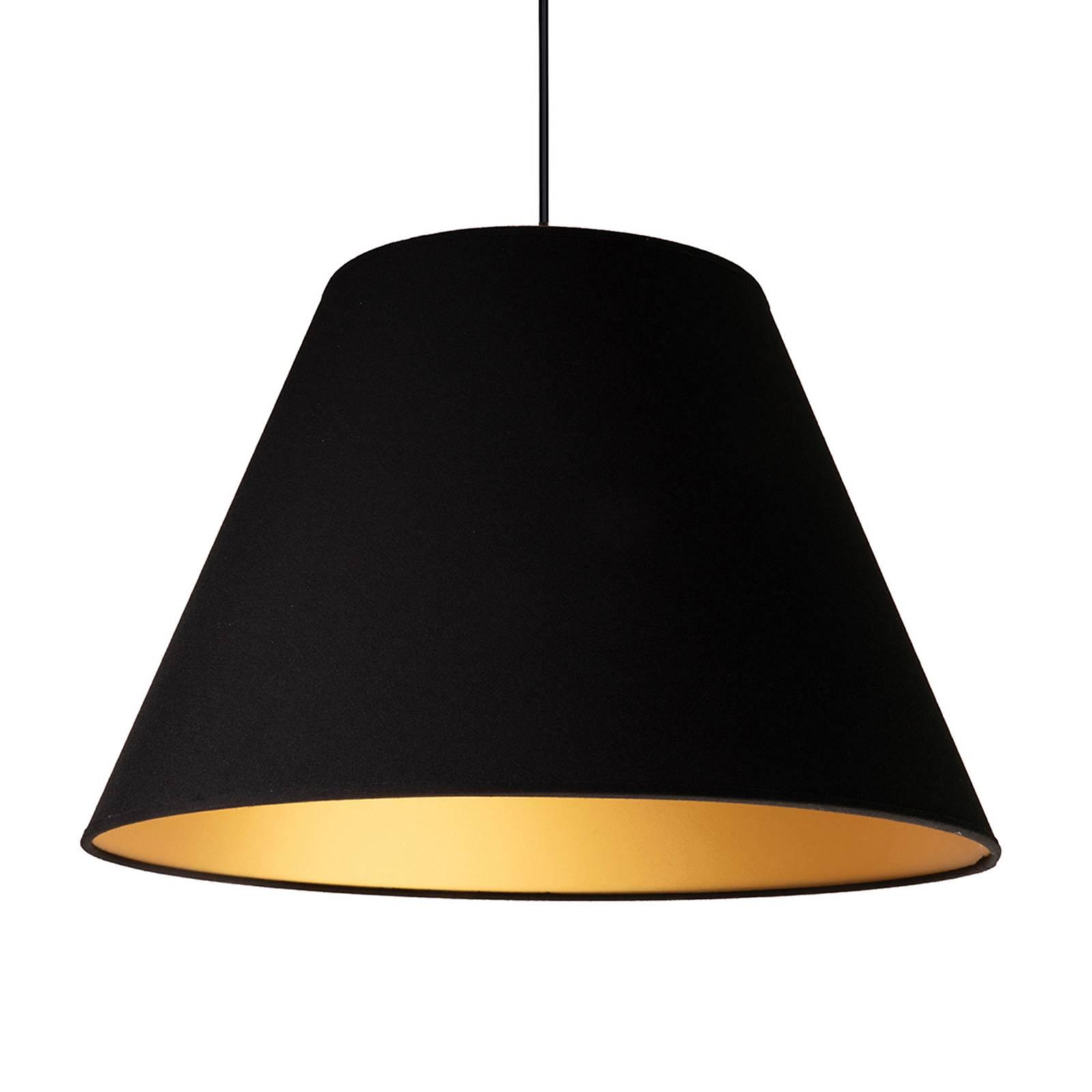 Hanglamp Anna, zwart, binnenkant goud