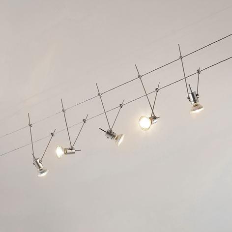 Iluminación LED sobre cable Marno, con 5 bombillas