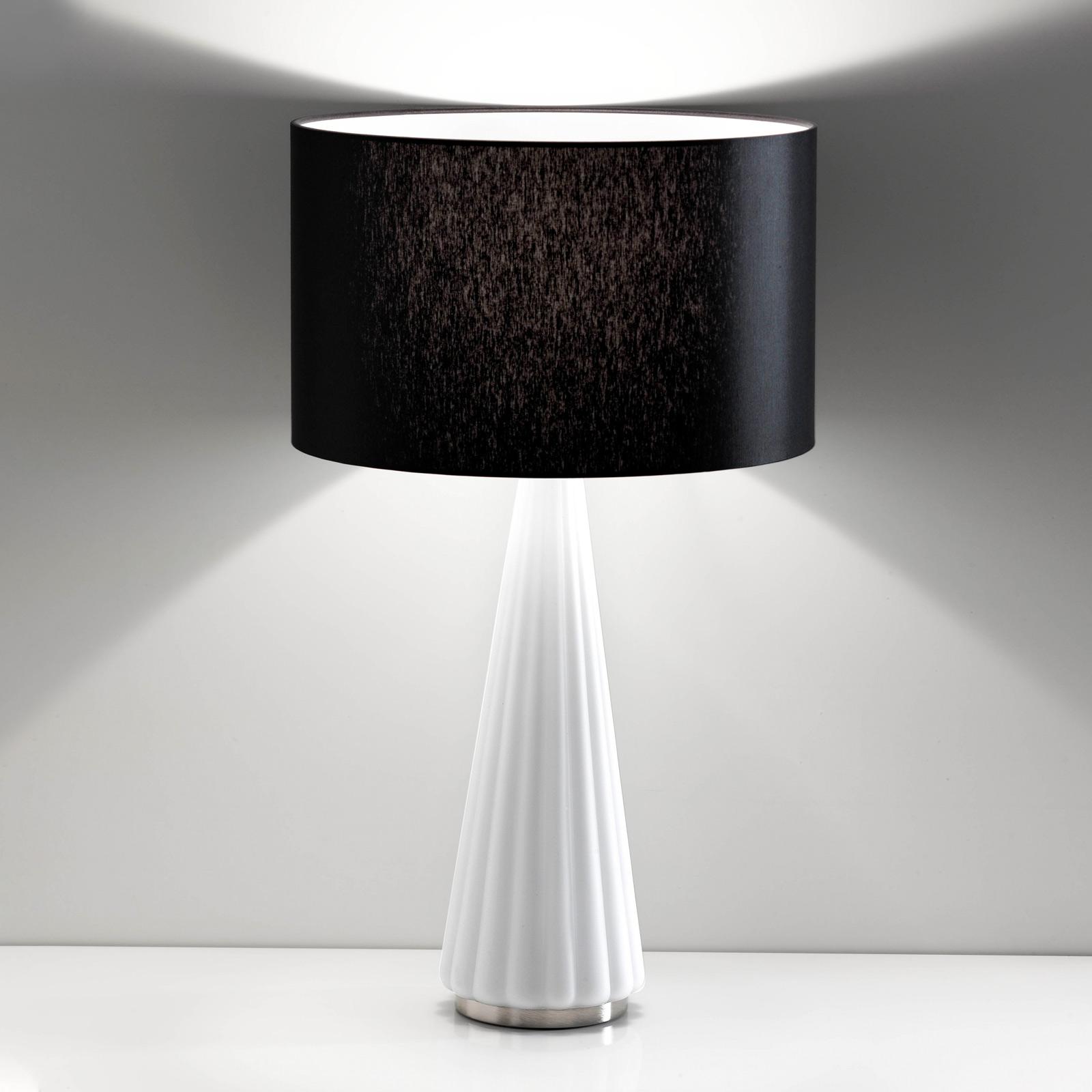 Lámpara de mesa Costa Rica tulipa negra pie blanco