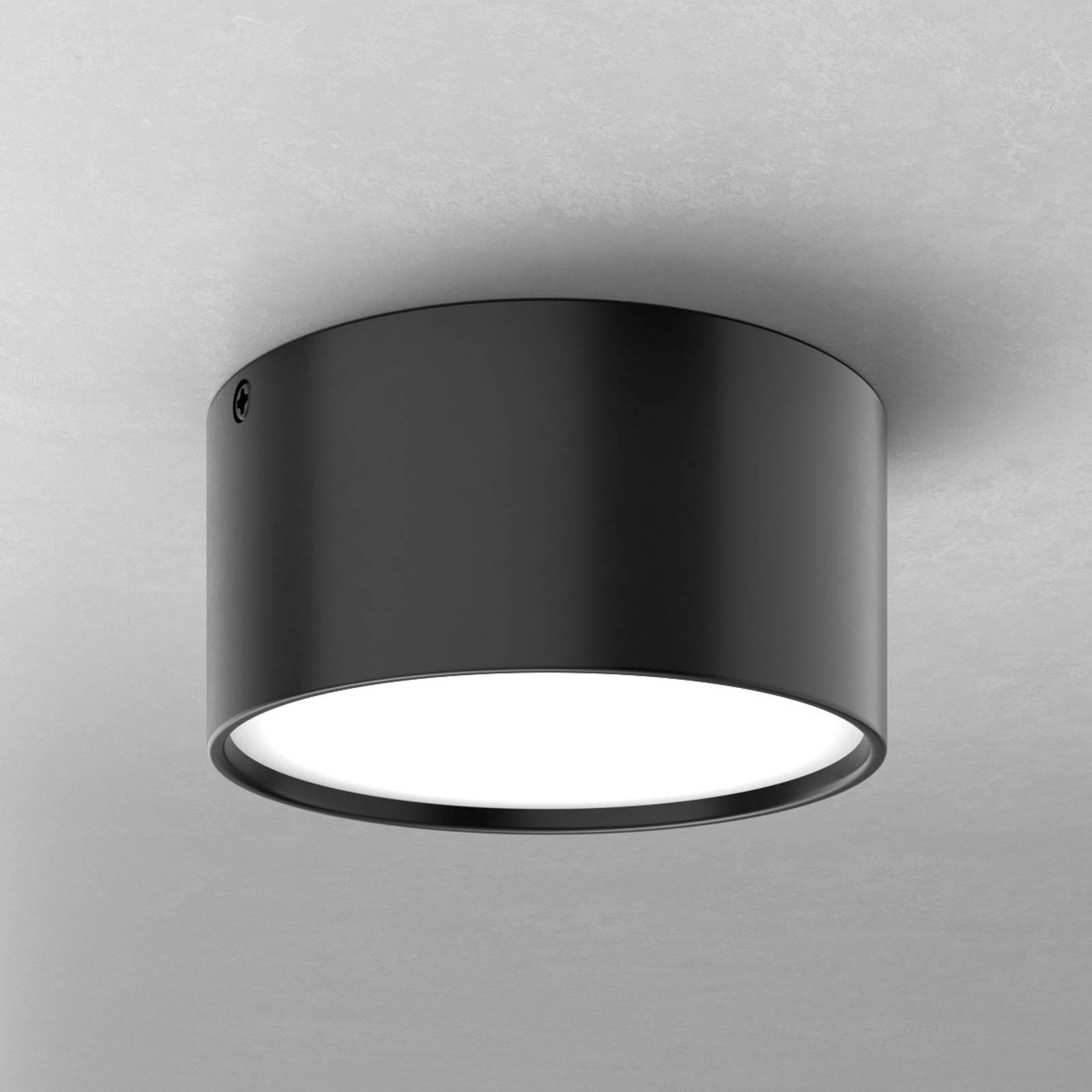 LED plafondlamp Mine in zwart, 12 cm