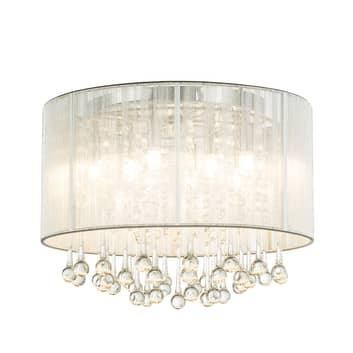 Silberne LED-Deckenleuchte Sierra mit Behang