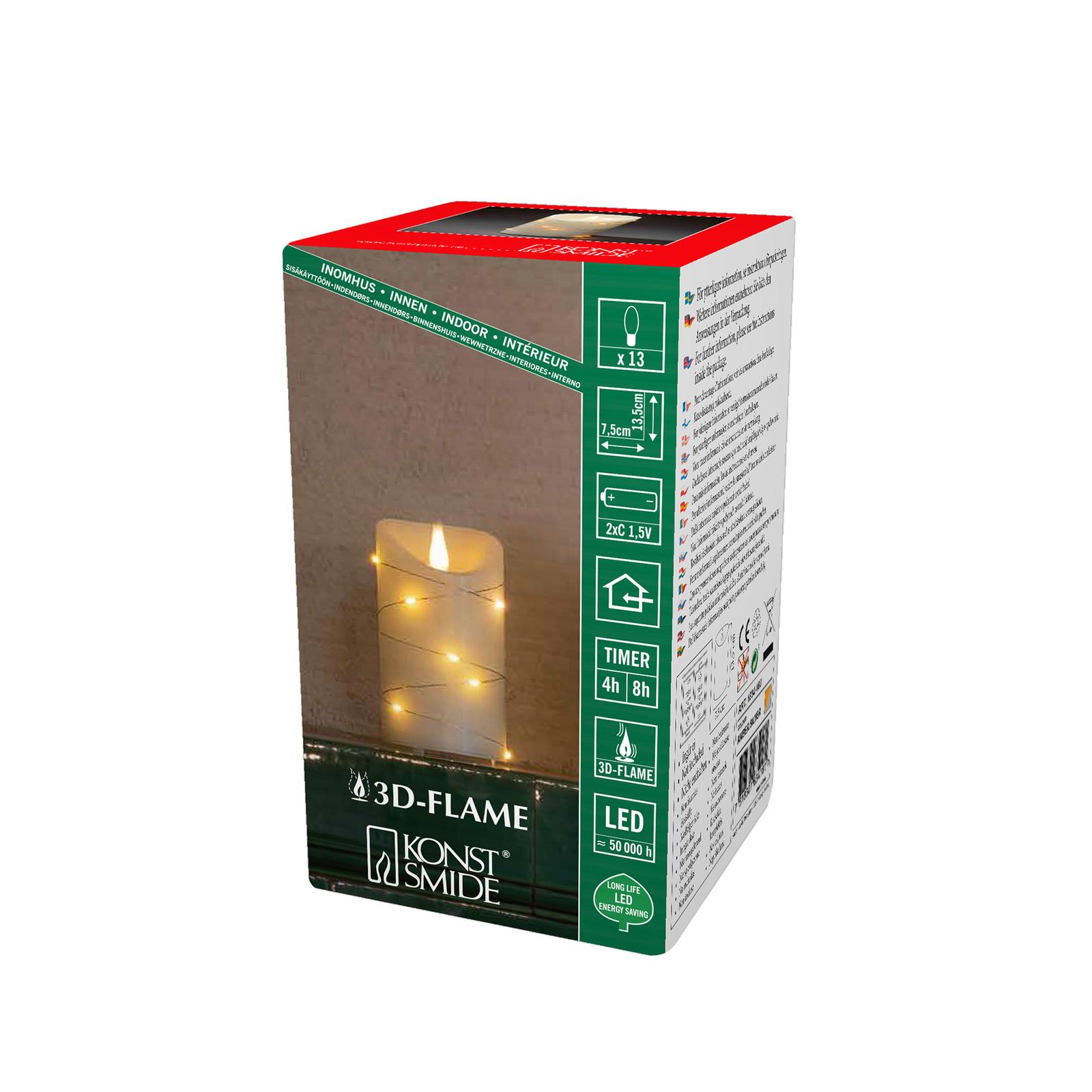 LED-Wachskerze creme Lichtfarbe Bernstein Ø 7,5 cm