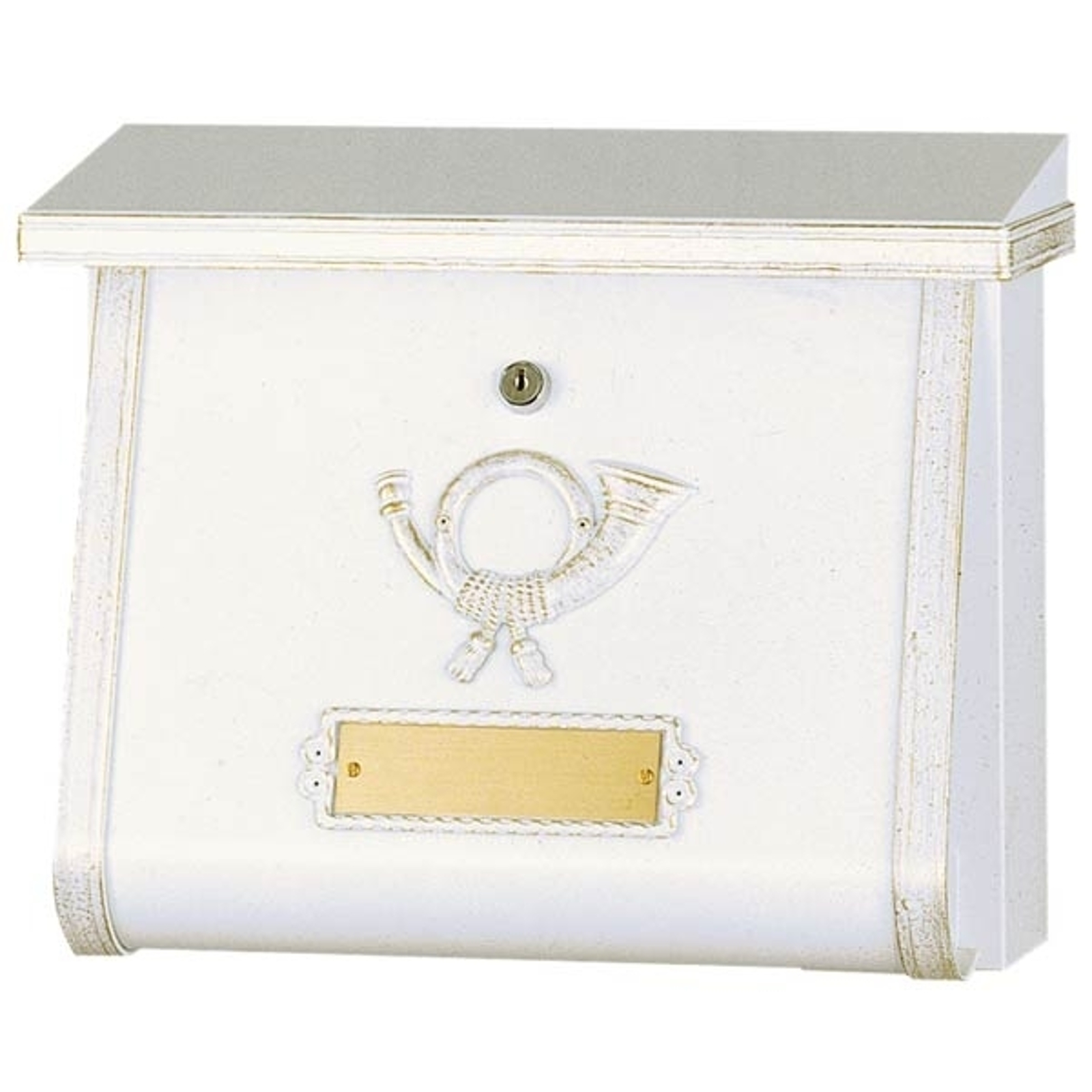 Konstfull postlåda MULPI vit/guldpatinerad
