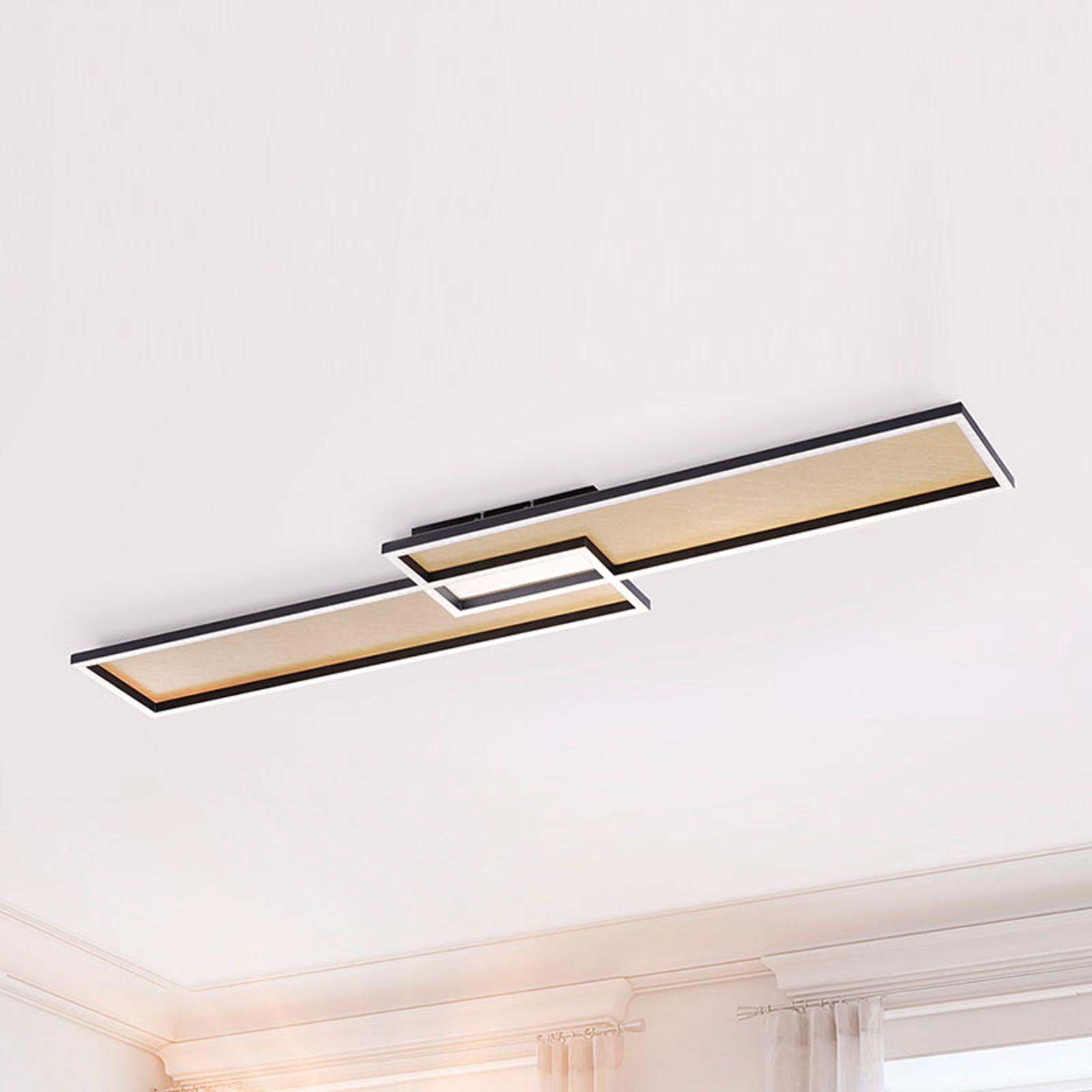 LED-taklampe Amara, to rektangler, svart