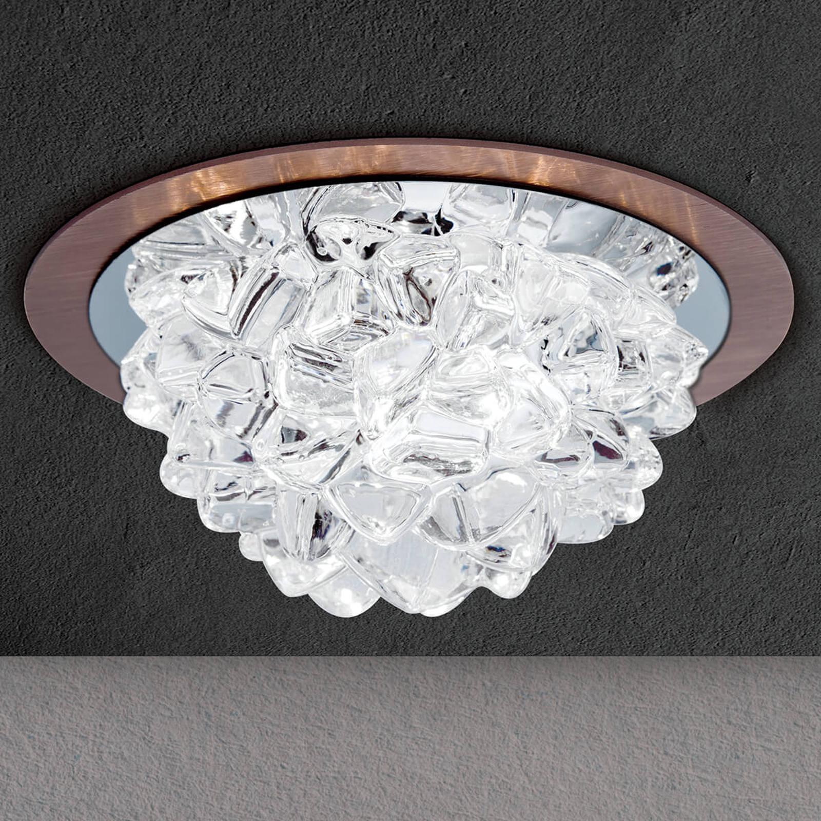 LED-innfellingslampe Cecil, krystall bronse