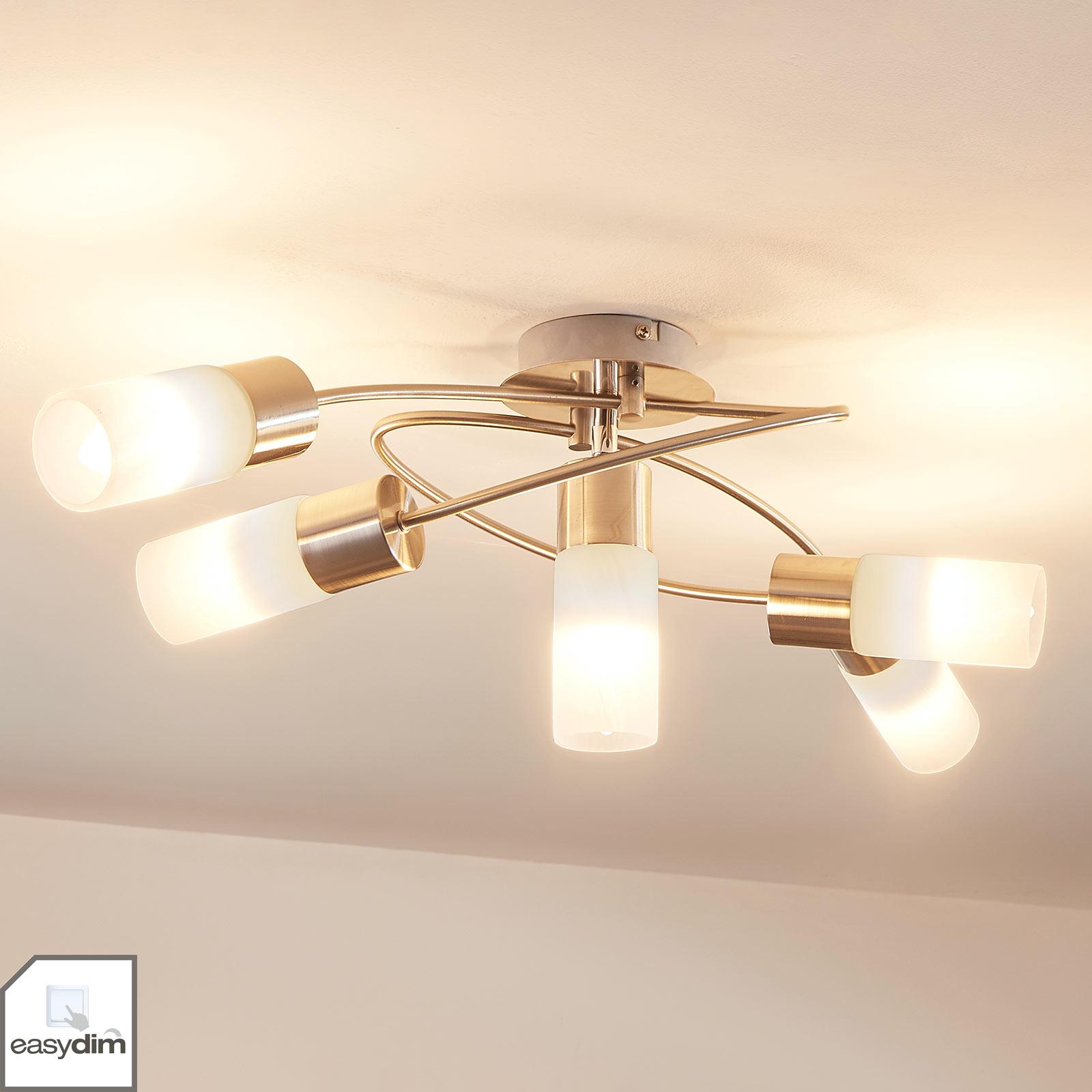 5-punktowa lampa sufitowa LED Erva, ściemniana