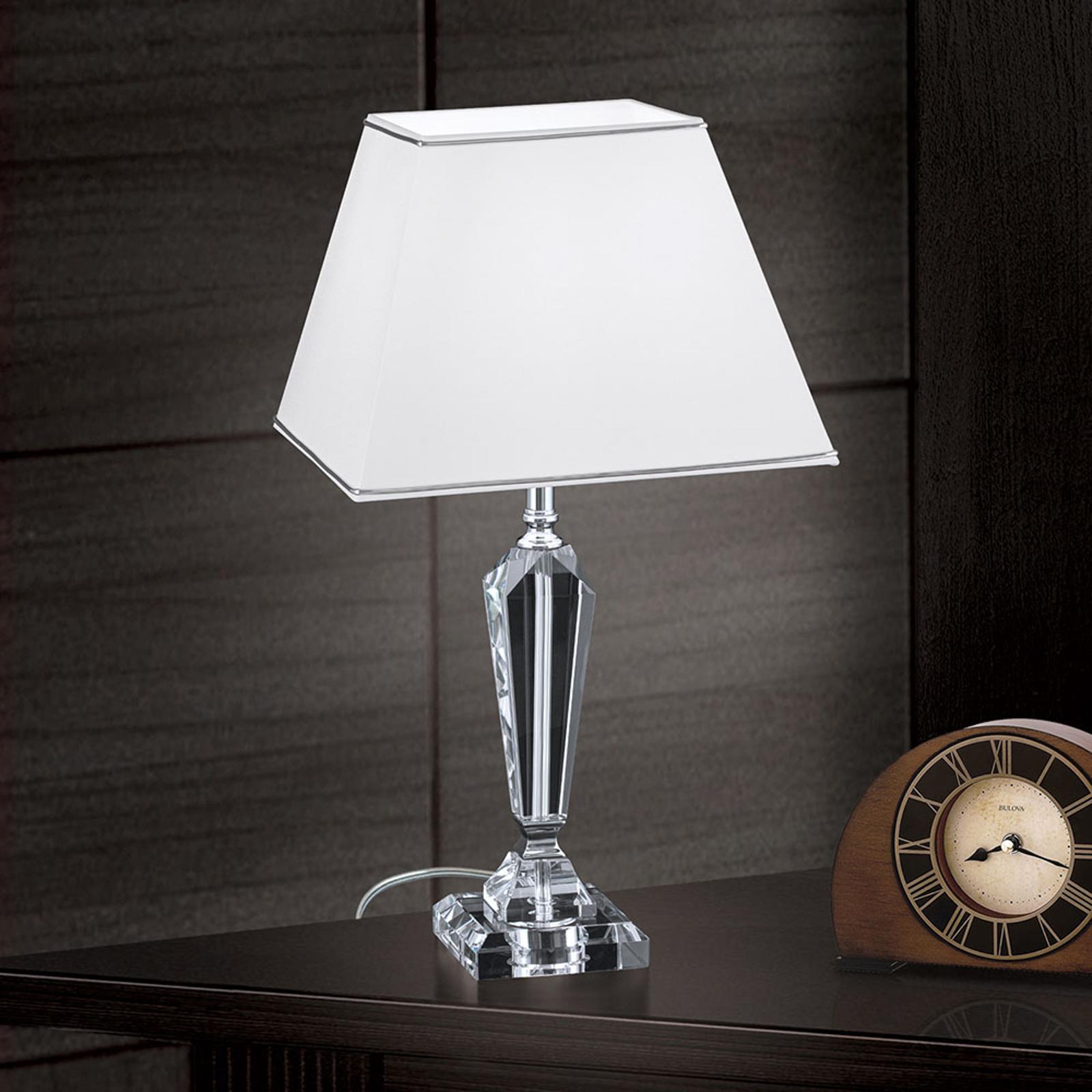 Tafellamp Veronique, voet smal, wit/chroom