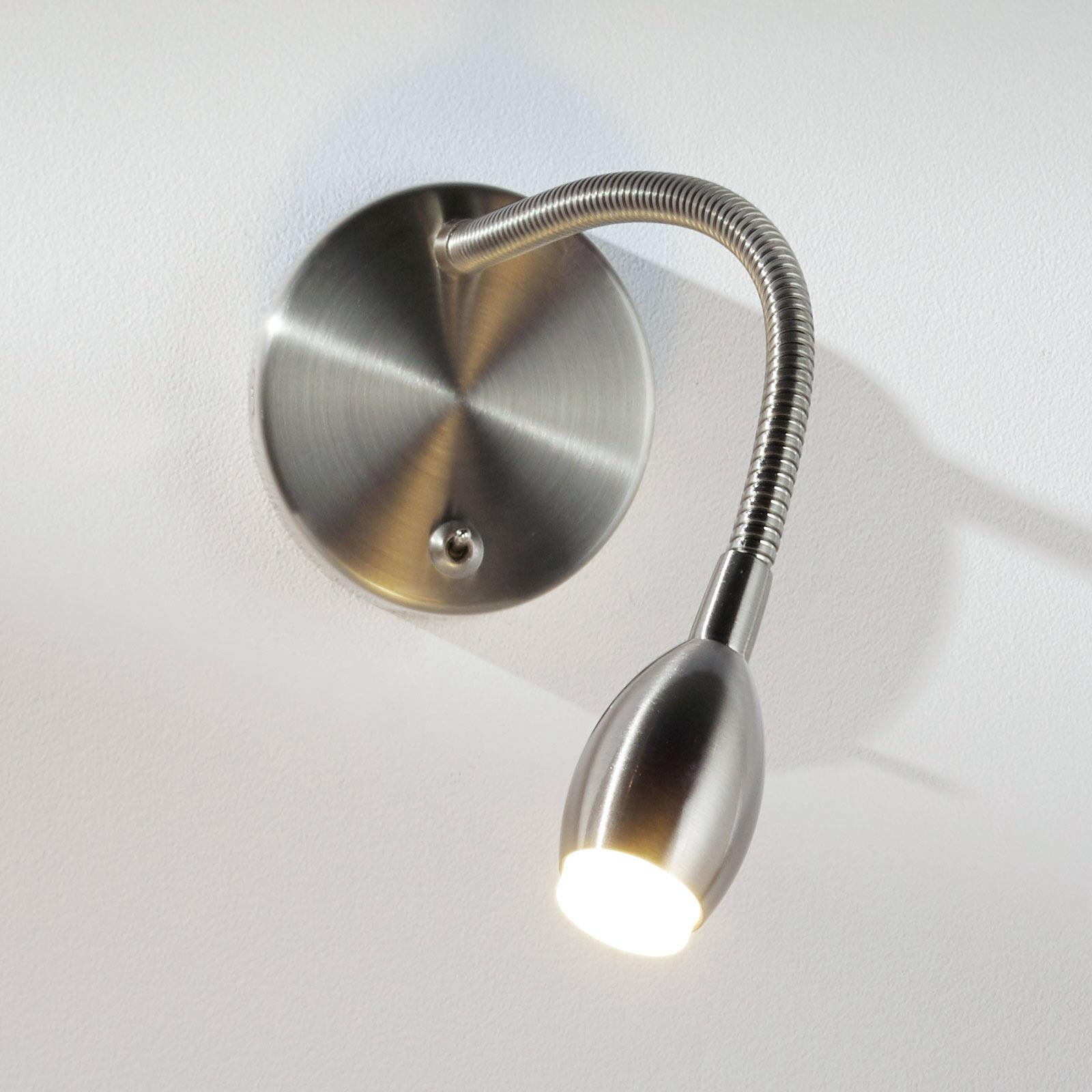 MARTA fleksarm-væglampe med LED, nikkel