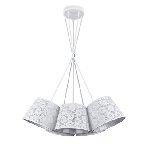 Suspension Salsa à 5 lampes, motif blanc