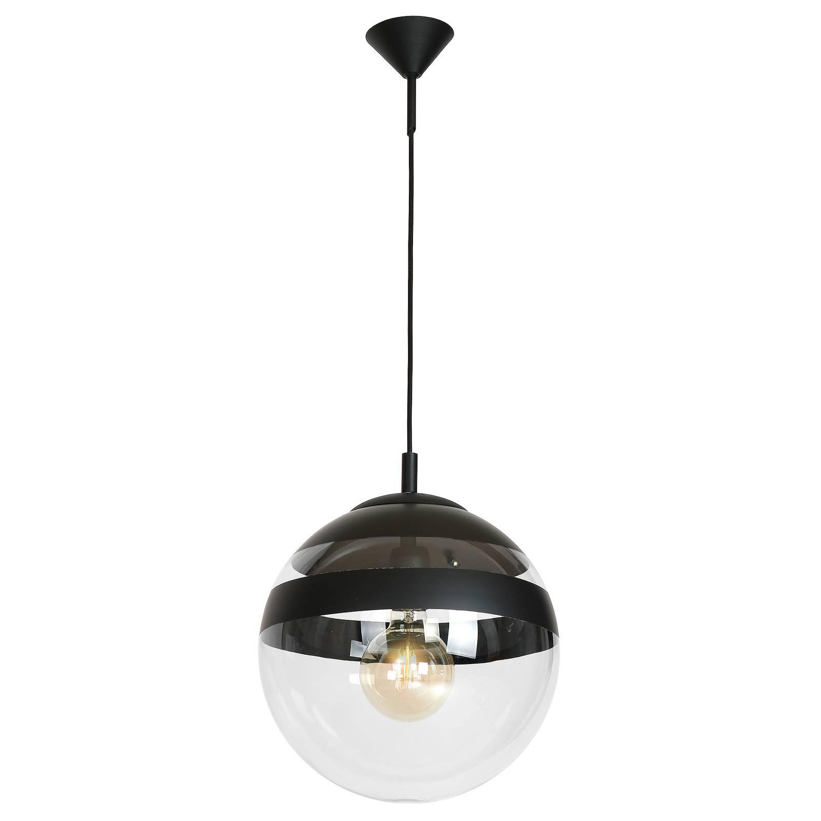 Hängeleuchte Globus aus Glas, schwarze Streifen