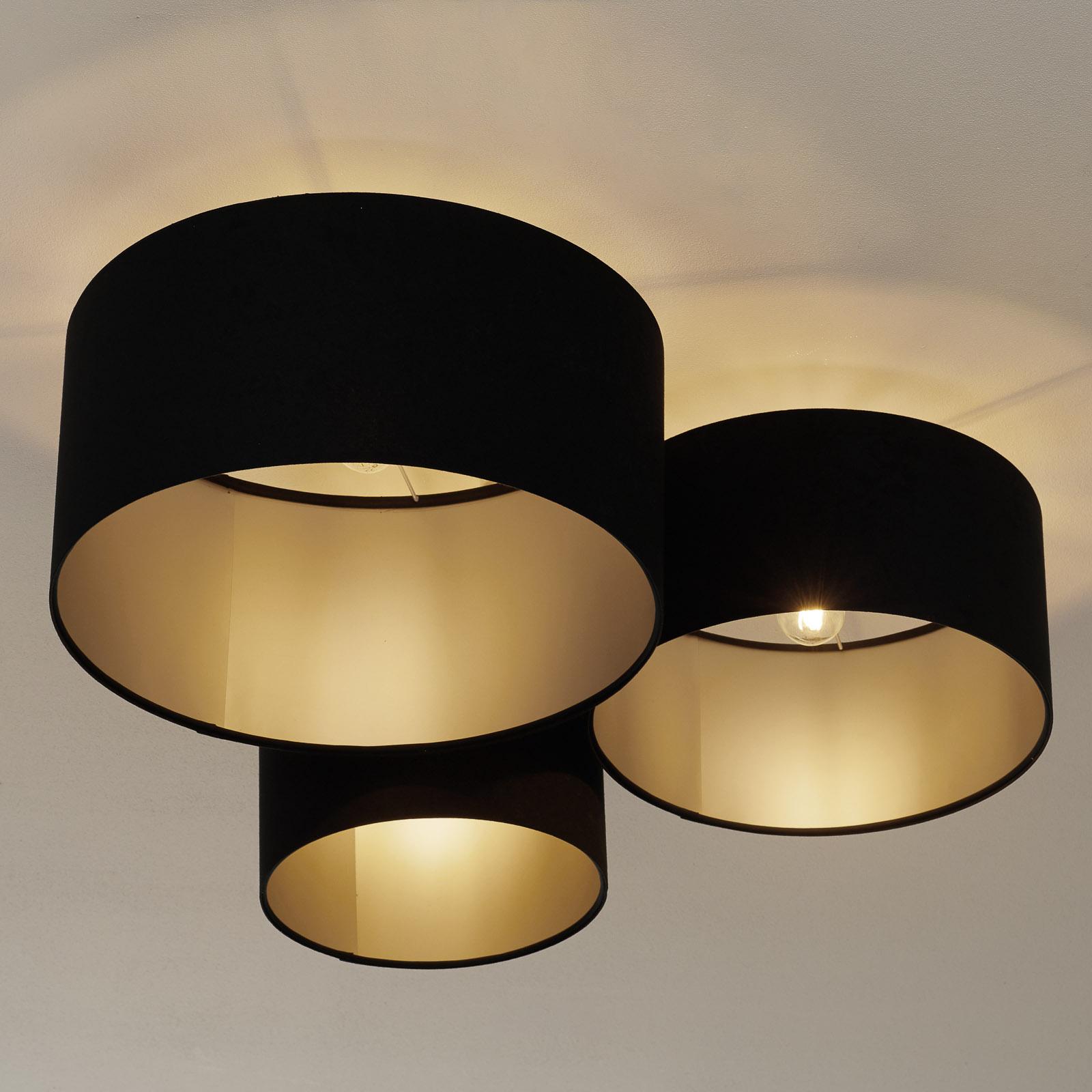 Taklampe 080, tre lyskilder, svart-sølv