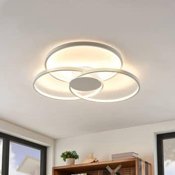Lindby Riley LED plafondlamp, dimbaar, wit