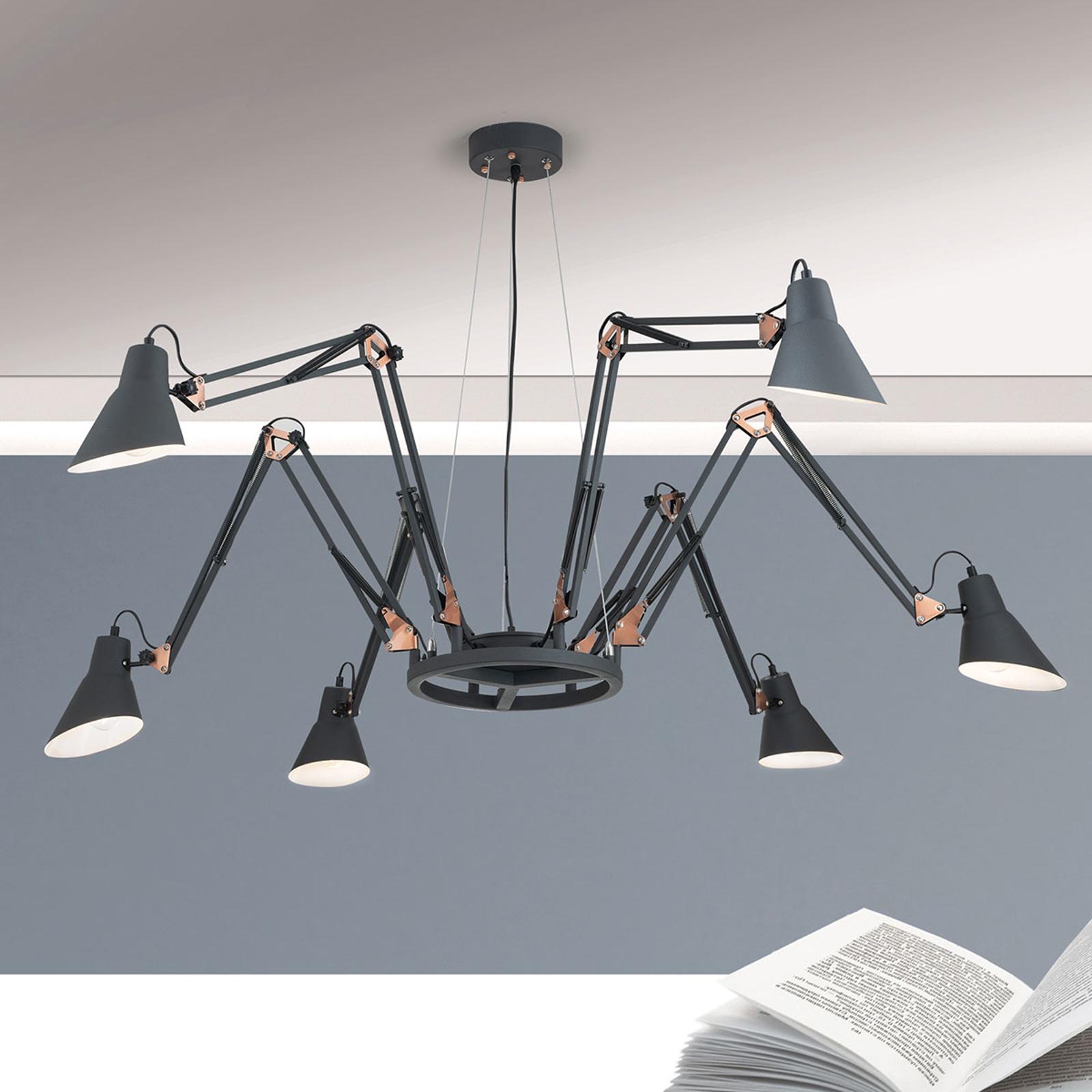 Hanglamp Bachelor 6-lamps - armen instelbaar
