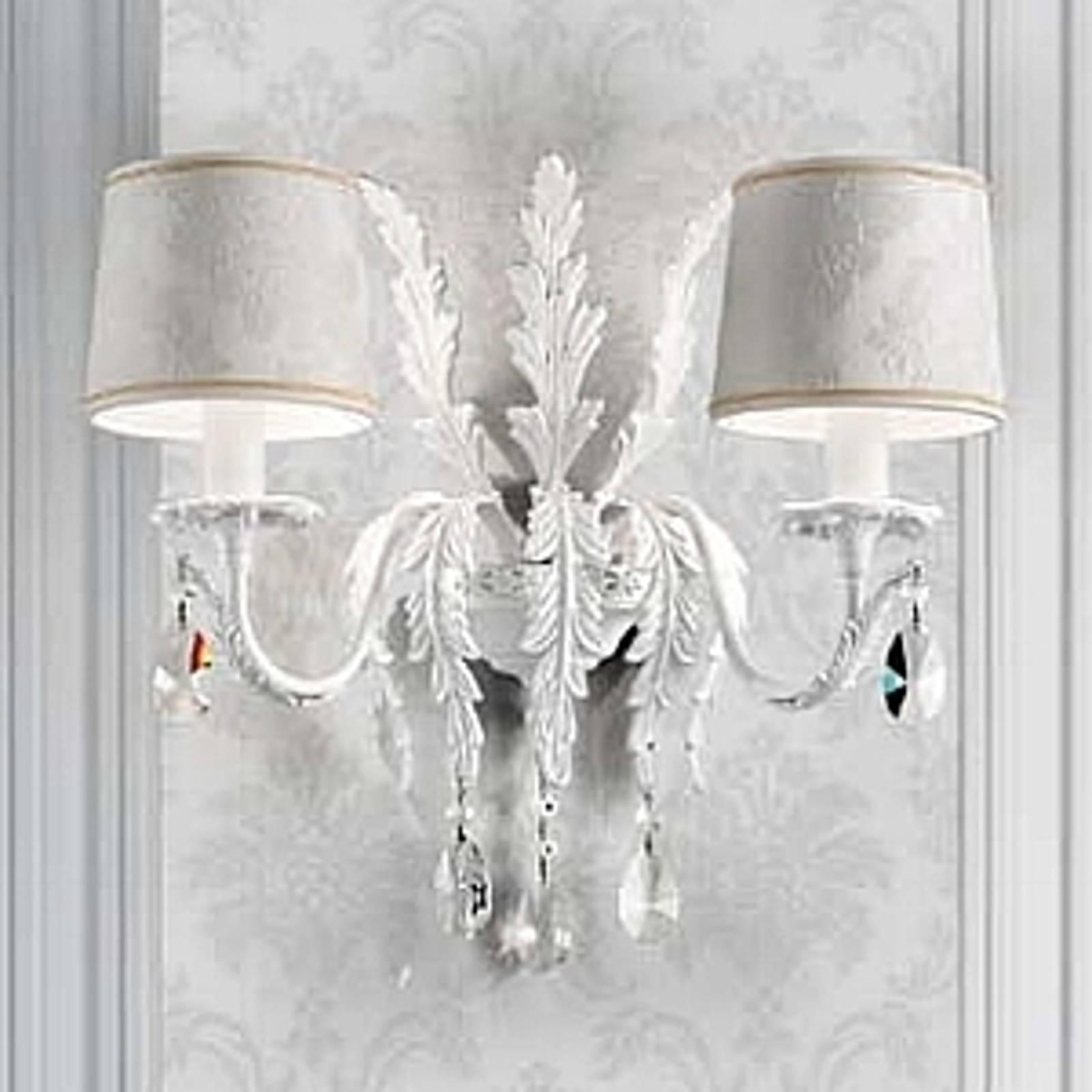 Weiße Wandleuchte Angelis mit Asfour-Kristallen