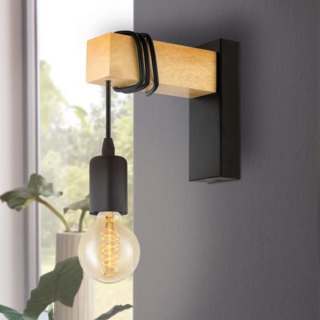 Lampa ścienna Townshend z elementem drewnianym