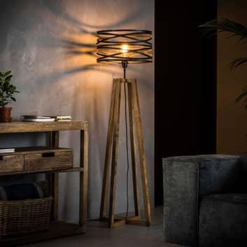 Stehleuchte Crossround aus Holz und Metall