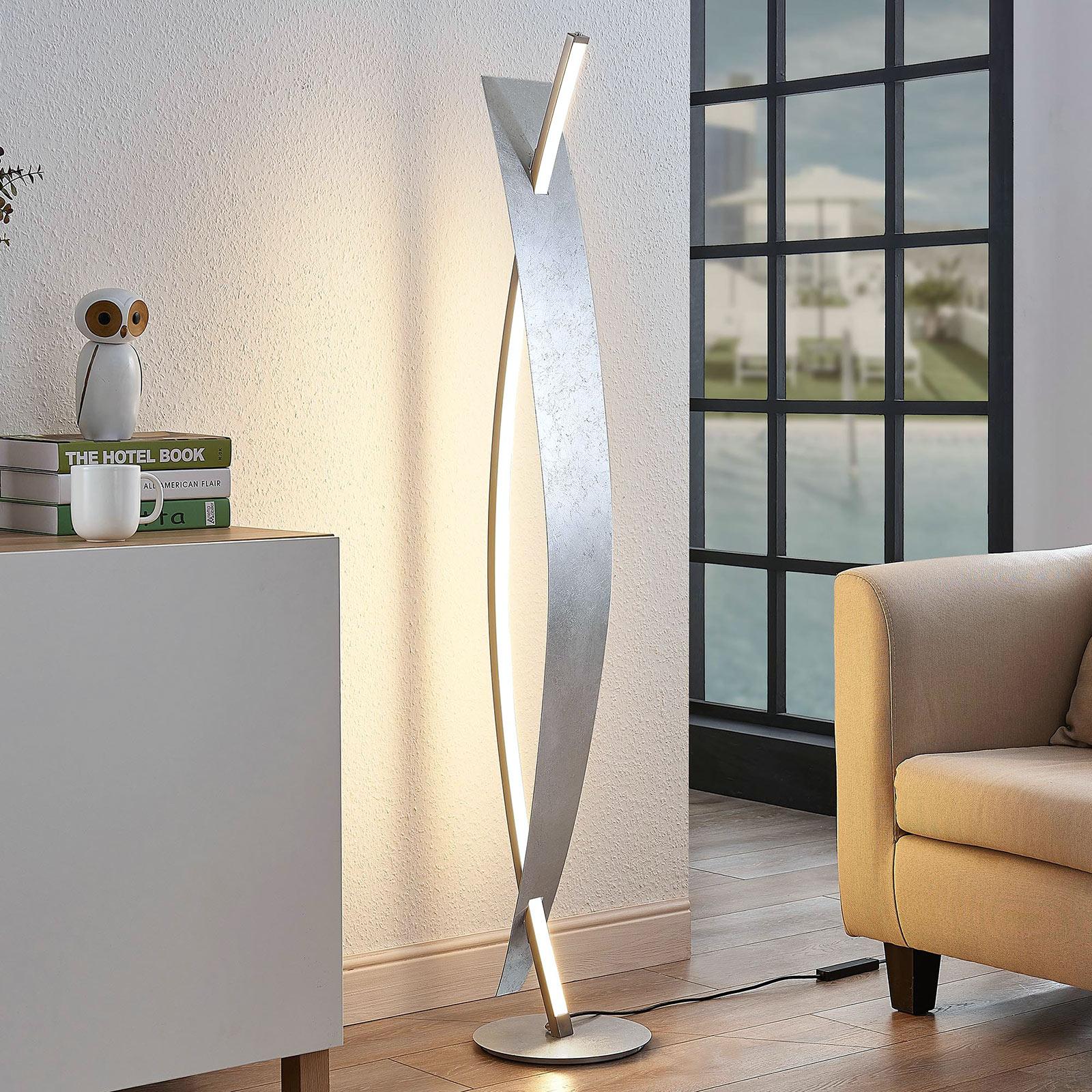 LED vloerlamp Marija in chique zilveren look