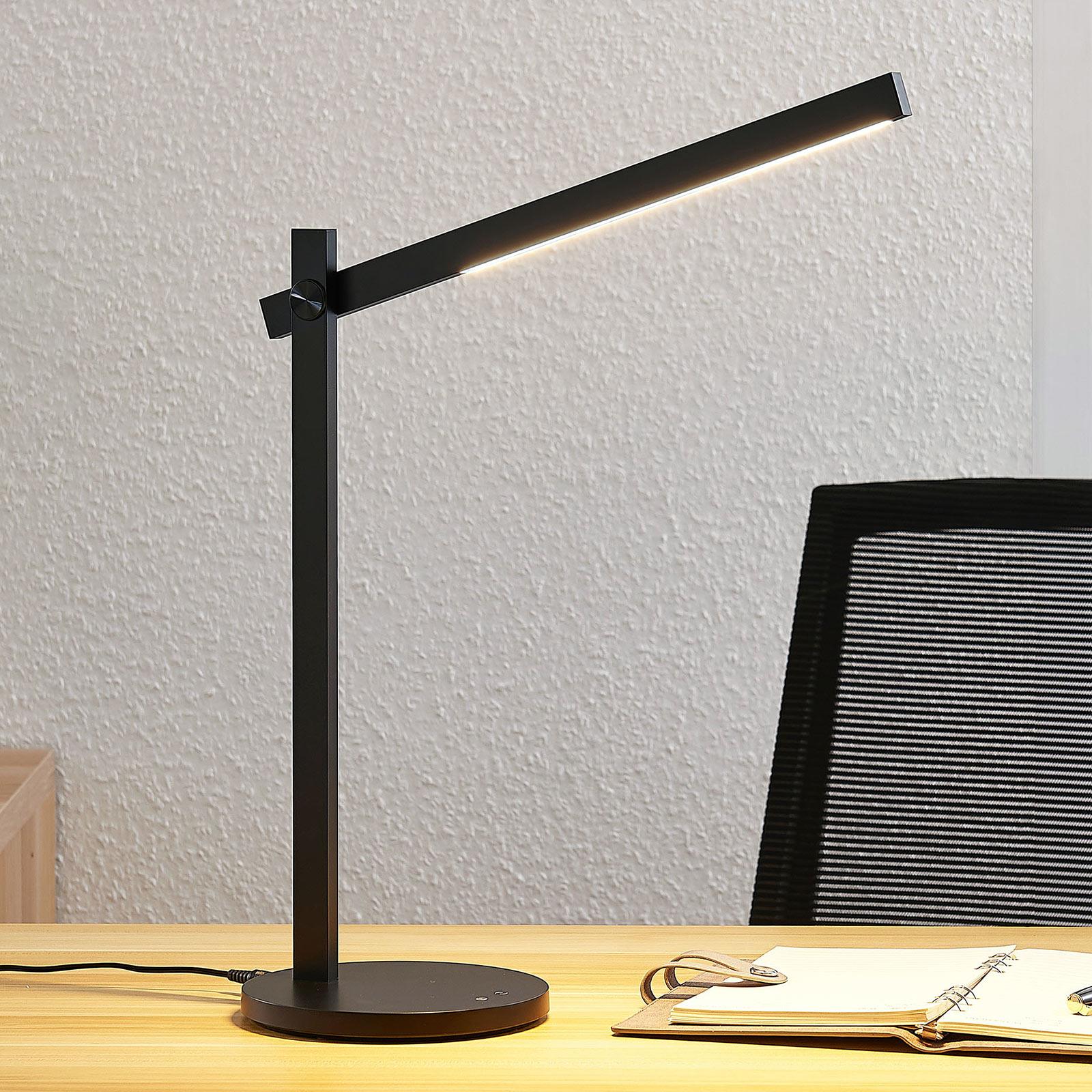 Lindby Loretta LED stolní lampa, CCT, černá