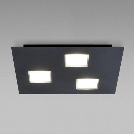 Fabbian Quarter lámpara LED de techo negra 3 luces