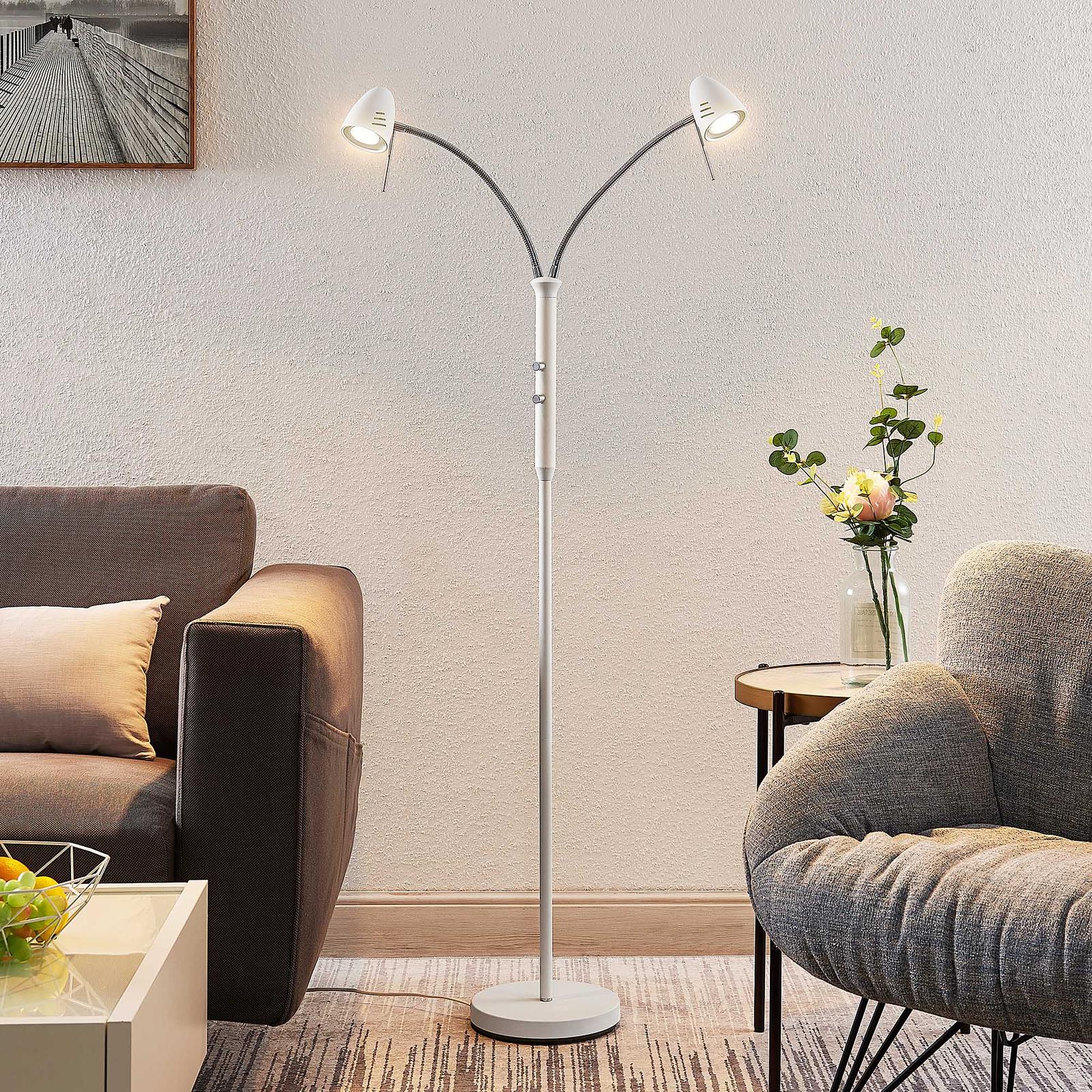 Lindby Heyko LED-golvlampa, dimbar, 2 lampor