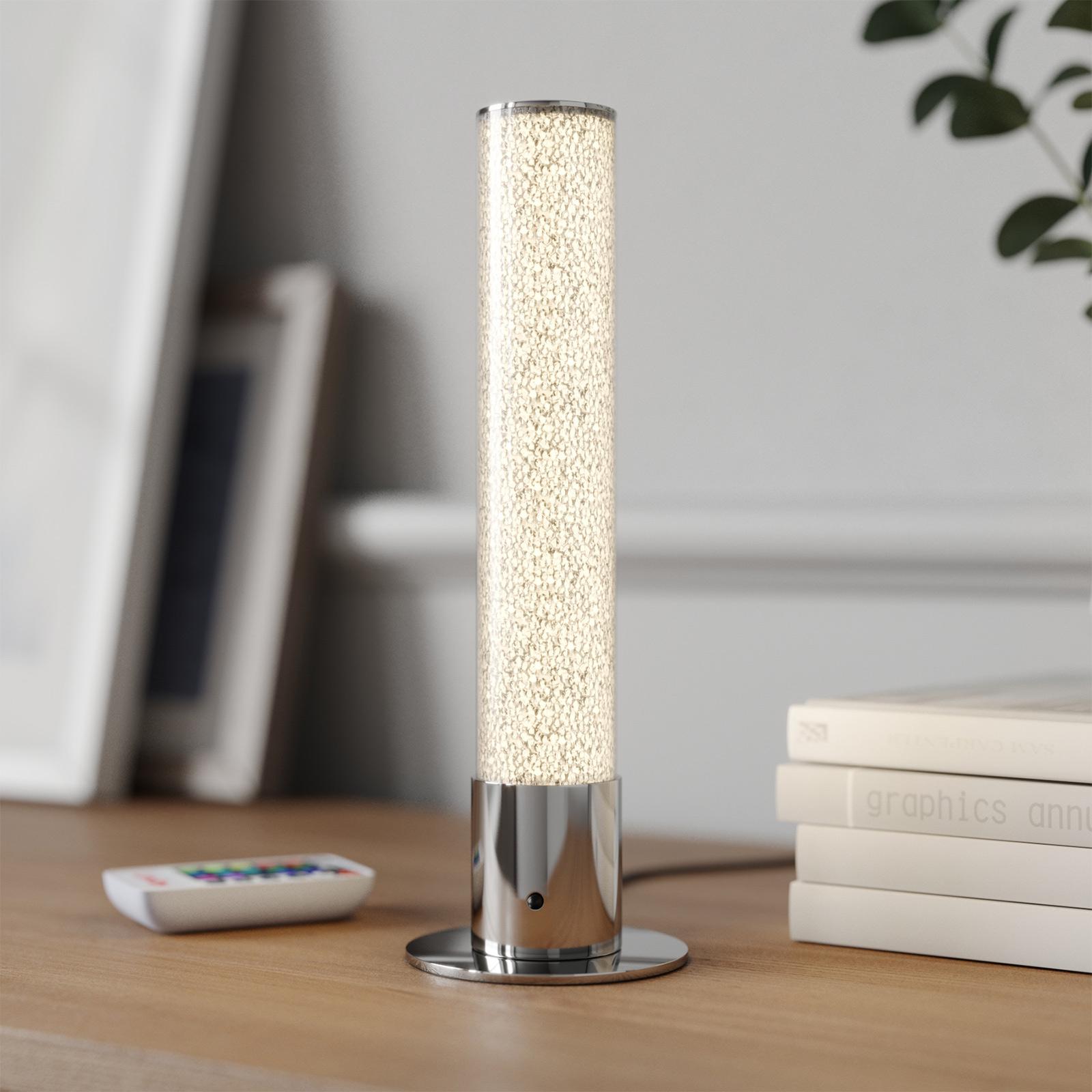 LED tafellamp Fria, cilinder, RGB, afstandsbed.
