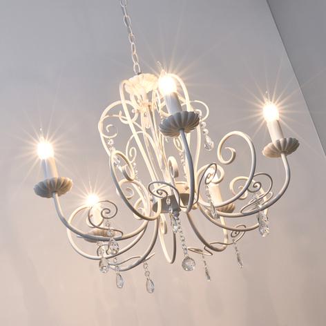 Vacker lampkrona Sophina med kristallhängen, vit
