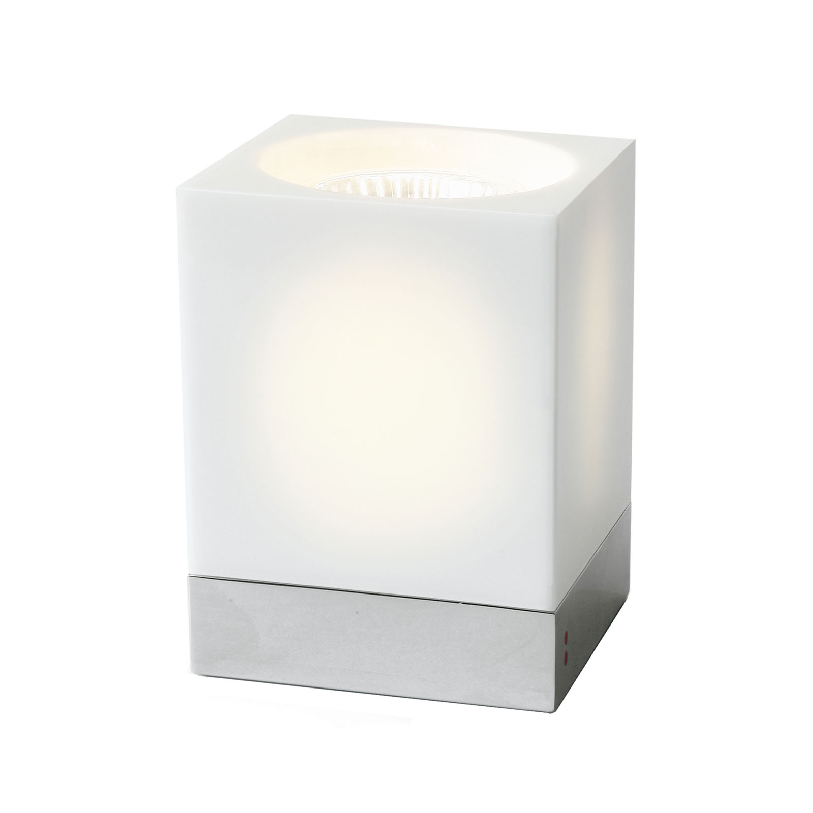Fabbian Cubetto Tischleuchte GU10 chrom/weiß