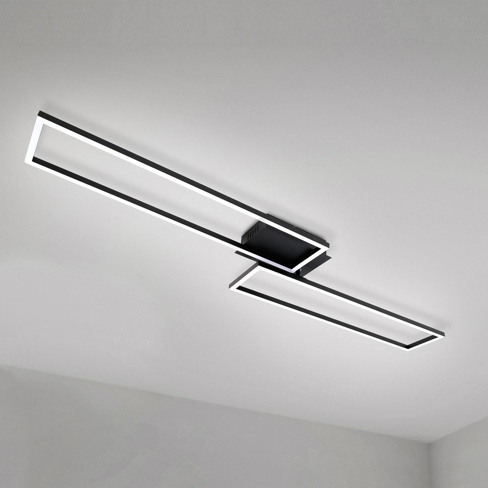 LED-Deckenlampe Frame, Fernbedienung, schwarz