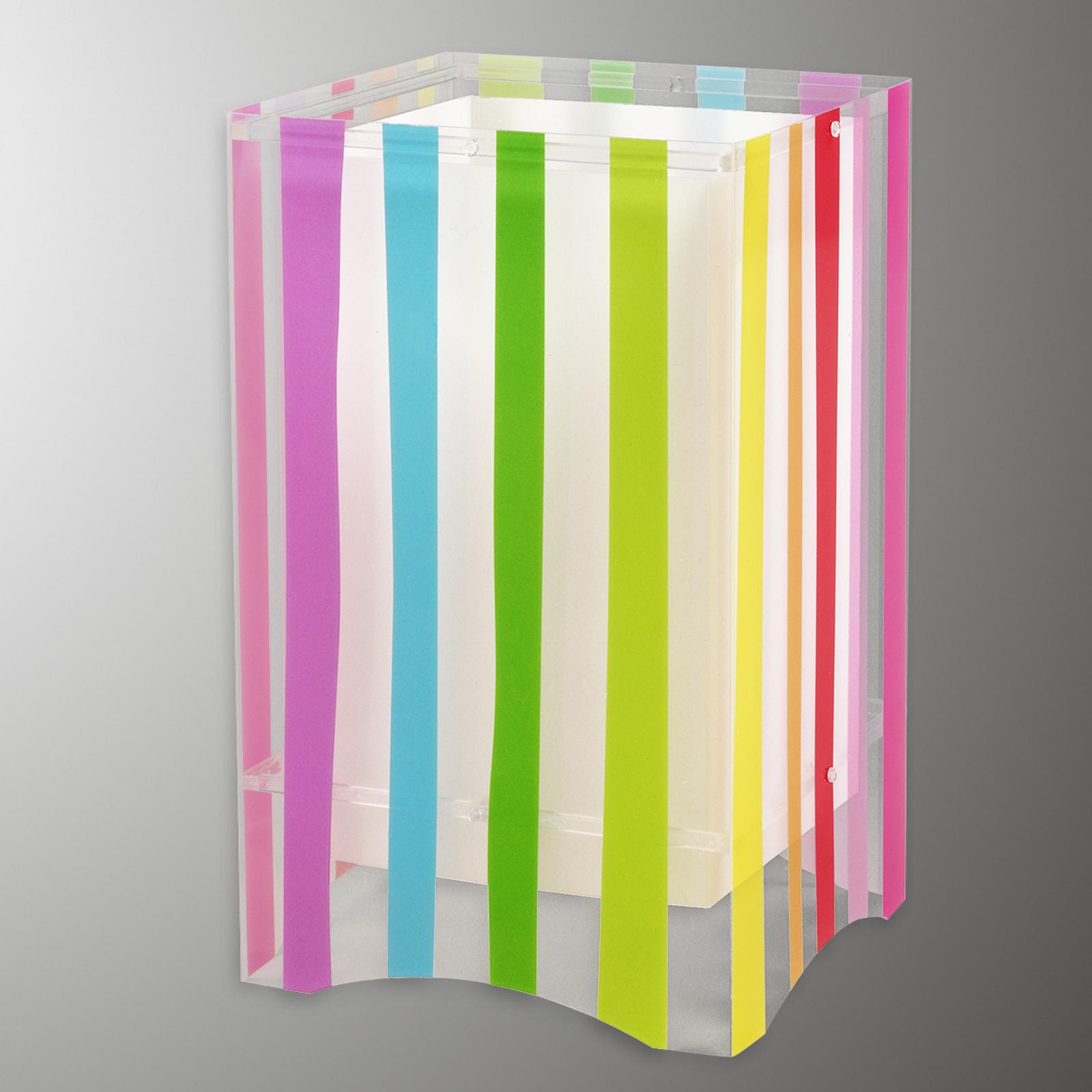 Børneværelse-bordlampen Decoline,farverige striber