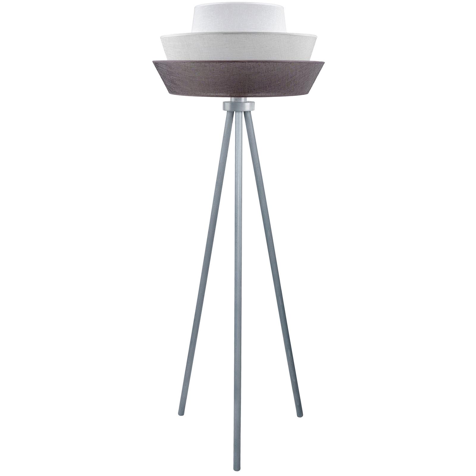 Driepootvloerlamp Lotos, grafiet/grijs/wit