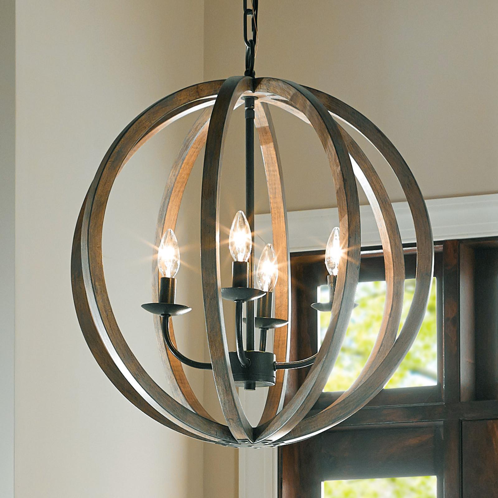 4-Punktowa lampa wisząca Allier z drewna 52,1cm