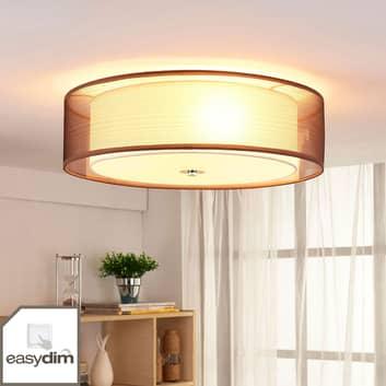Plafonnier LED en tissu brun Tobia, easydim