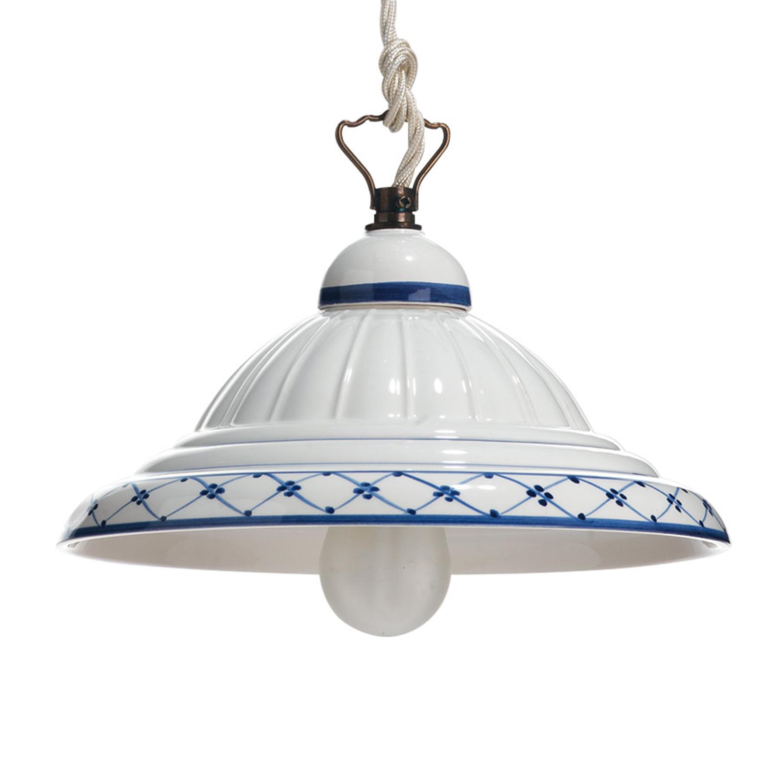 Hængelampe i keramik Zaffiro, i landlig stil