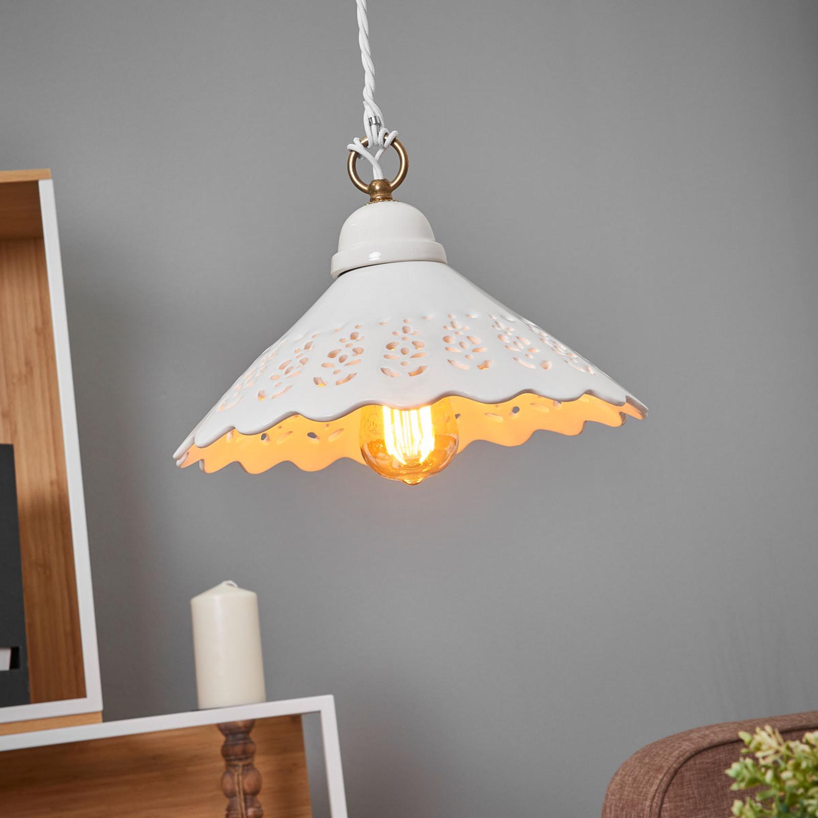 Lámpara colgante Pizzo, 1 luz, de cerámica