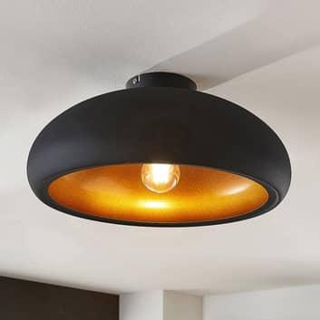 Metalen plafondlamp Gerwina, zwart-goud